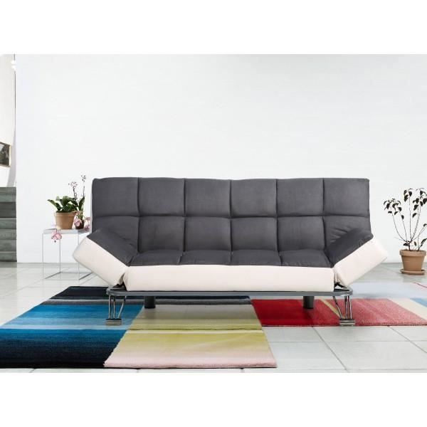 canap convertible clic clac microfibre grise simili. Black Bedroom Furniture Sets. Home Design Ideas