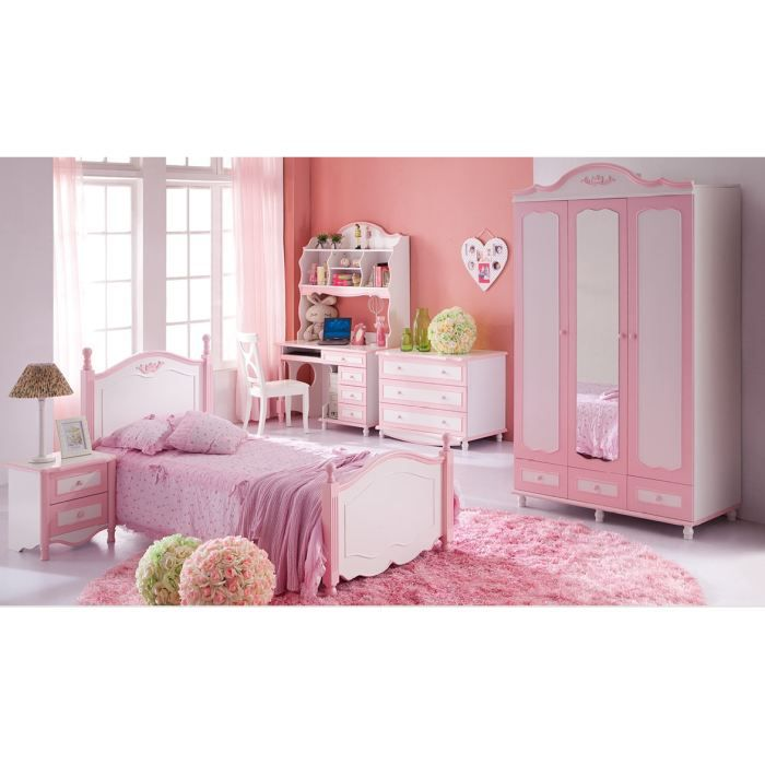 chambre enfant complete angelica rose achat vente lit complet chambre enfant complete ang. Black Bedroom Furniture Sets. Home Design Ideas