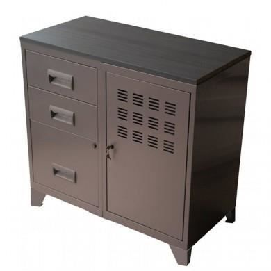 meuble de rangement bas taupe achat vente petit. Black Bedroom Furniture Sets. Home Design Ideas