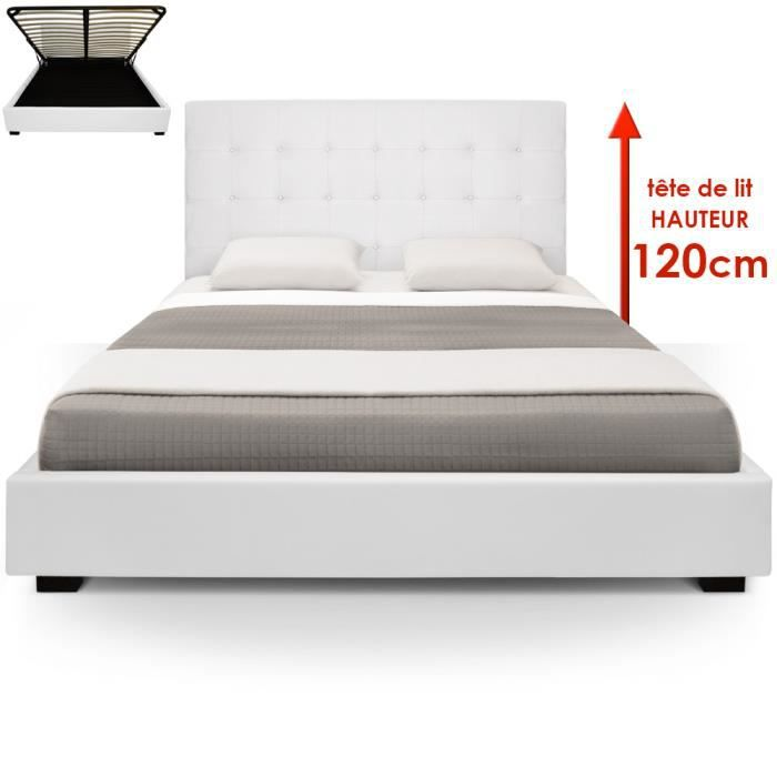 lit coffre trevene sommier 180cm blanc achat vente lit complet les soldes sur cdiscount. Black Bedroom Furniture Sets. Home Design Ideas