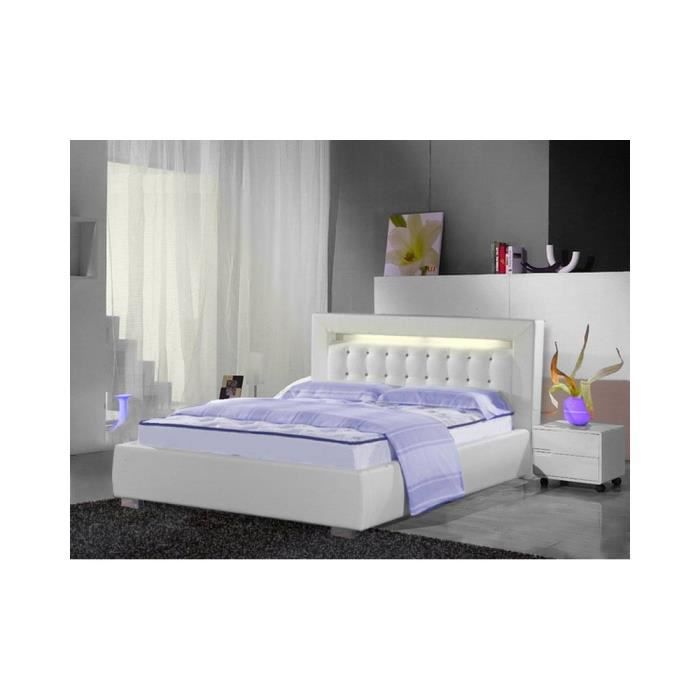 lit design london avec lumi re 160cmx200cm blanc sans matelas sans sommier achat vente. Black Bedroom Furniture Sets. Home Design Ideas