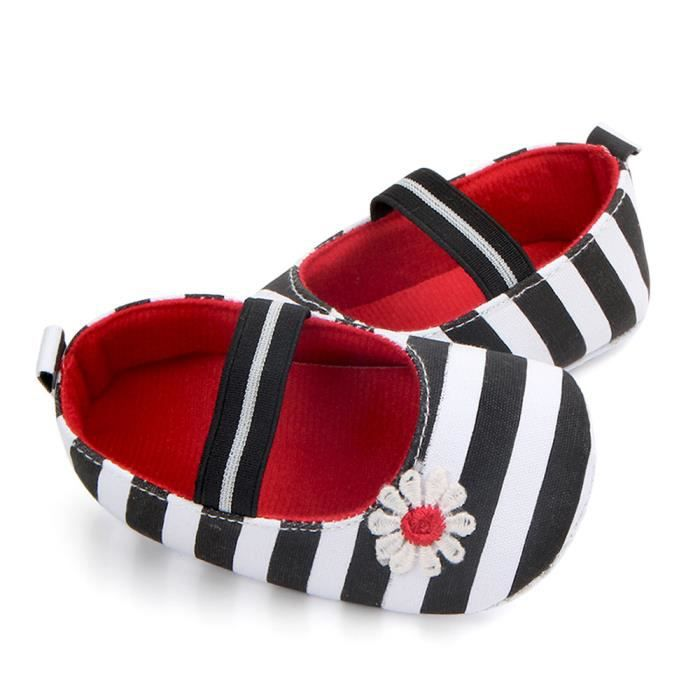 Flower Anti Enfants slip Souples Baby Girls Stripe Bb Chaussures Sole Noir 5wA7PqS