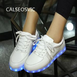 Calseosvic Homme Femme LED Lumière Lumineux Chaussures-Blanc kcCp6Gl1MI
