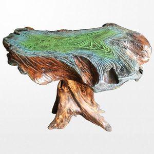 TABLE BASSE Somptueuse table en bois massif patiné