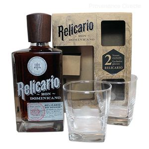 RHUM Coffret Ron RELICARIO avec deux verres dégustation