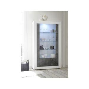 VITRINE - ARGENTIER SUBLEEM Vitrine 2 portes en verre Bronte blanc bri