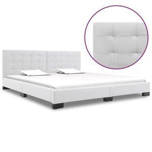 STRUCTURE DE LIT vidaXL Cadre de lit Blanc Similicuir 180 x 200 cm