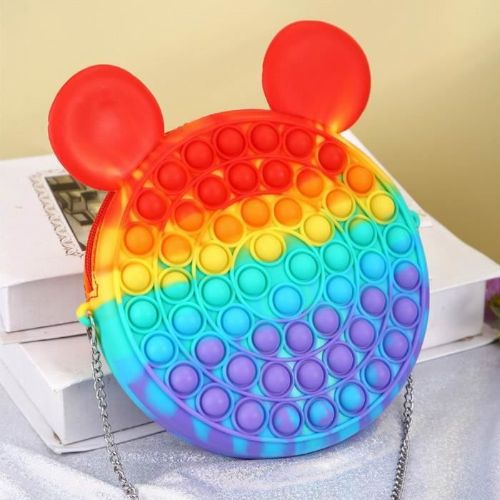 Sac Pop It Jouet sensoriel Bubble Sacs à bandoulière pour soulager le stress – Jouet en silicone - Mickey