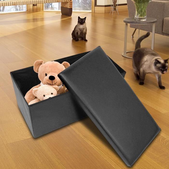 Nouveau grand tabouret pliant de rangement multifonctionnel pouf pour bureau domestique (noir) -KEL