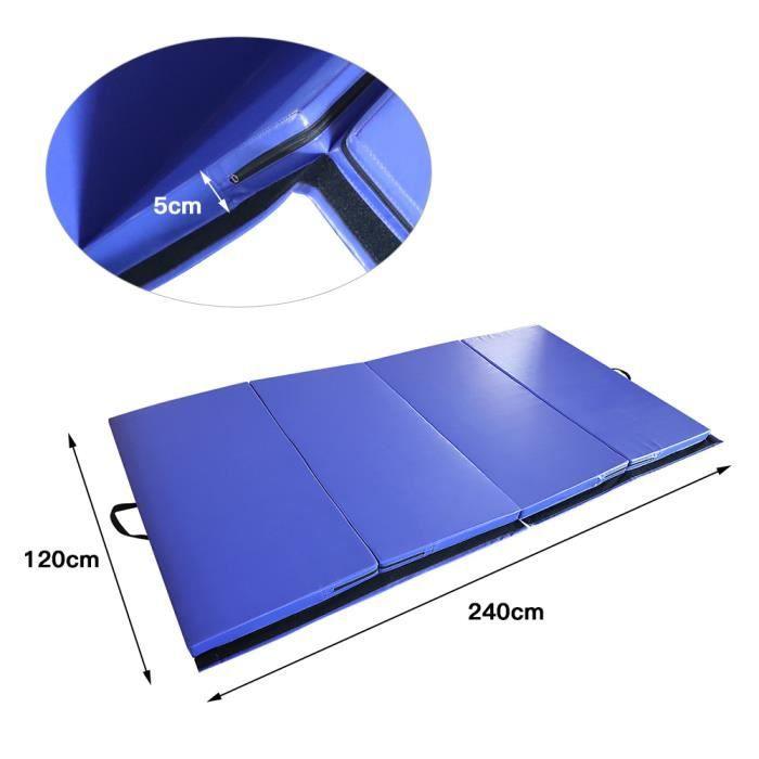 Pliage Tapis de Yoga Judo Gymnastique Danse Fitness Exercice Formation 240 x 120 x 5 cm Bleu