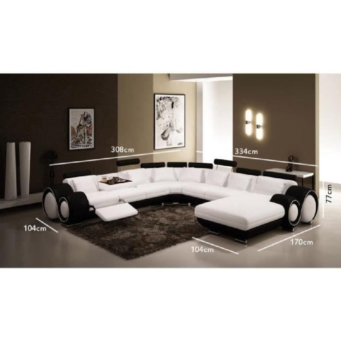 Canapé panoramique cuir blanc et noir OSLO (angle droite)