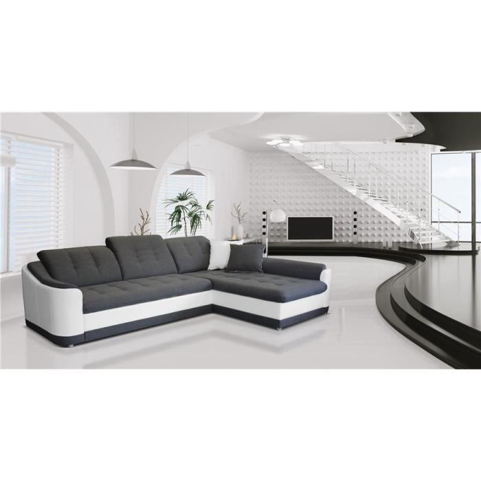 Canapé d'angle convertible Bary - gris et blanc - Angle droit