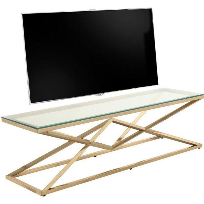Meuble tv design en acier inoxydable poli doré et verre trempé L. 150 x P. 40 x H. 45 cm collection PARMA Or, Transparent