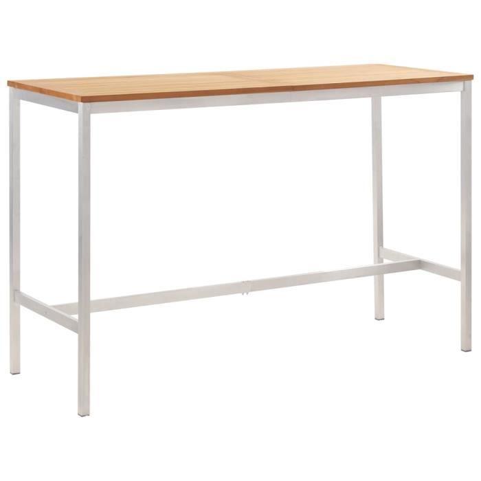 Table bar de 4 à 6 personnes style contemporain- Mange-Debout Table haute - 160x60x105 cm Bois de teck solide et inox