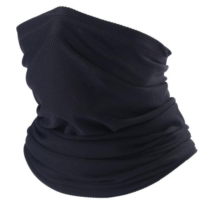 Black -Guêtre de Sport pour le cou, Bandana, cache nez tubulaire, cache nez tactique, cyclisme, pêche, randonnée, motard, militaire,