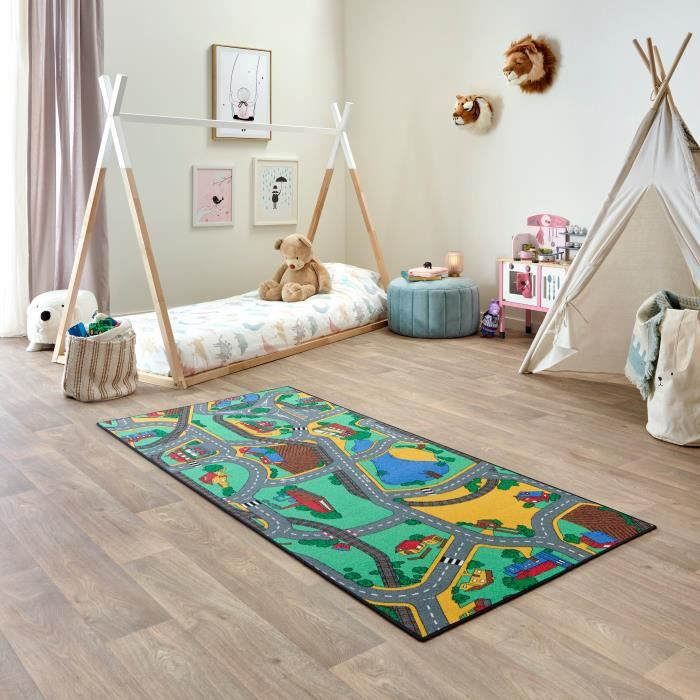 Tapis de Jeu Enfant 95x200cm, Playtime - Tapis Circuit Voiture - Lavable - Antidérapant - Carpet Studio