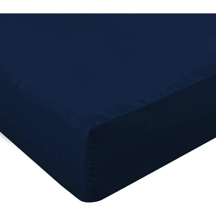 Drap Housse - Bonnets 35 cm pour Matelas Épais - Microfibre Brosséee - (Bleu Marine, 90 x 200 cm) 40