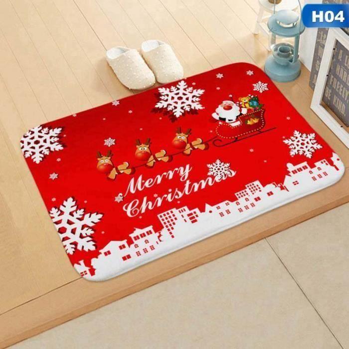 Tapis de Père Noël en flanelle Tapis de sol Tapis de sol Tapis de sol antidérapant pour la maison H04