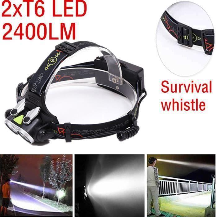 Lampe frontale puissante LED XM-L 2xT6 T6 LED 18650 ca-466