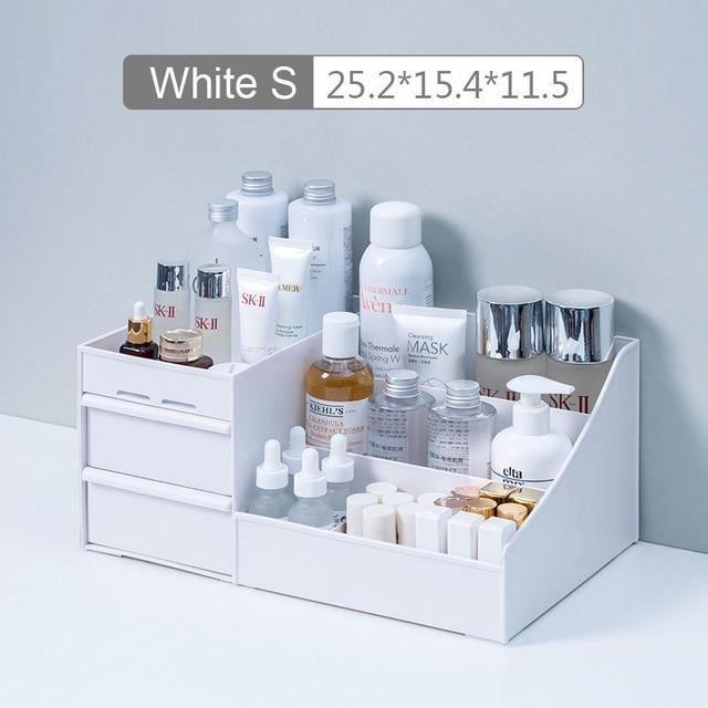 Boîte de rangement cosmétique grande capacité maquillage tiroir organisateur bijoux vernis à ongles maquillage - Type white S