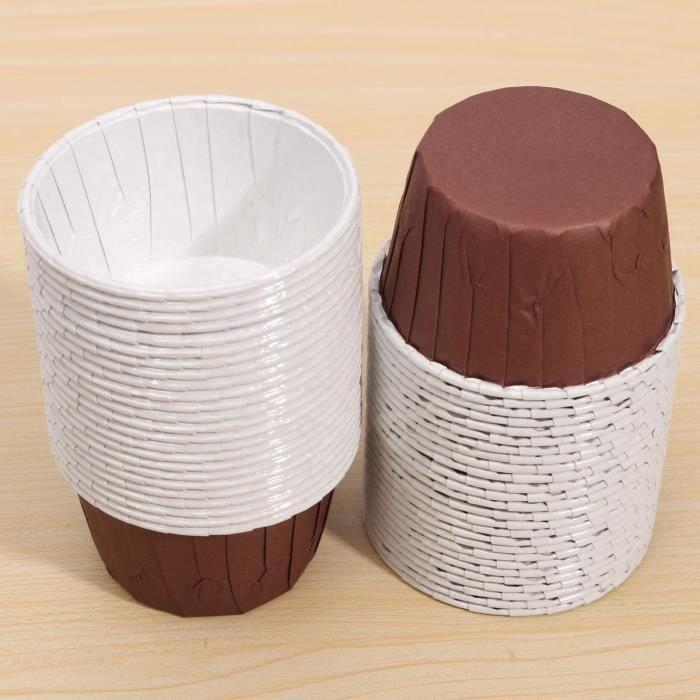 50pcs Caissette Papier Muffin Cupcakes Dessert Gâteau Moules Jetable Coupe Moule brown L04053