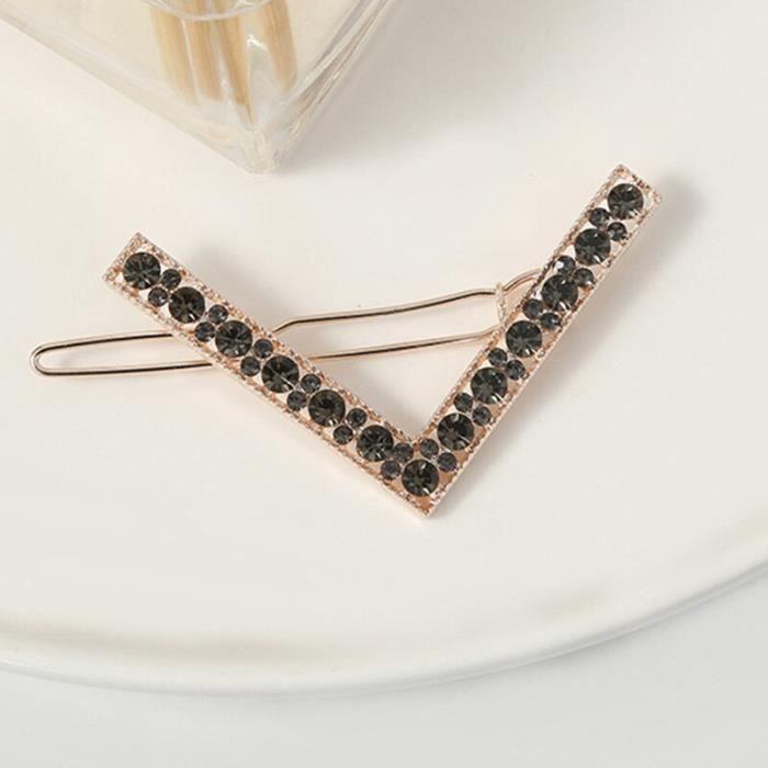 Mode pince à cheveux épingle métal géométrique cristalhairband cercle Hairgrip en forme de V Barrette filles s DY8479