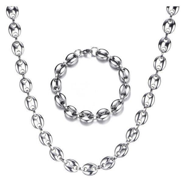 8MM 11MM 13MM café grains chaînes Bracelets ensemble en acier inoxydable colliers pour hommes femmes Hiphop déclaration *KI9287