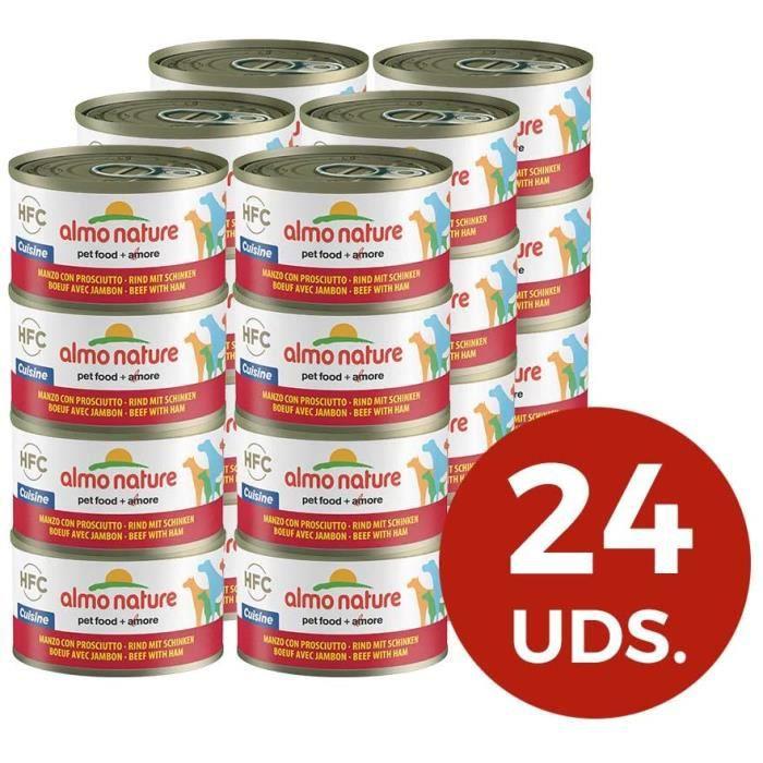 Nourriture pour chiens almo nature HFC Cuisine Nourriture pour Chien Boeuf et Jambon 95 g Lot de 24 35964