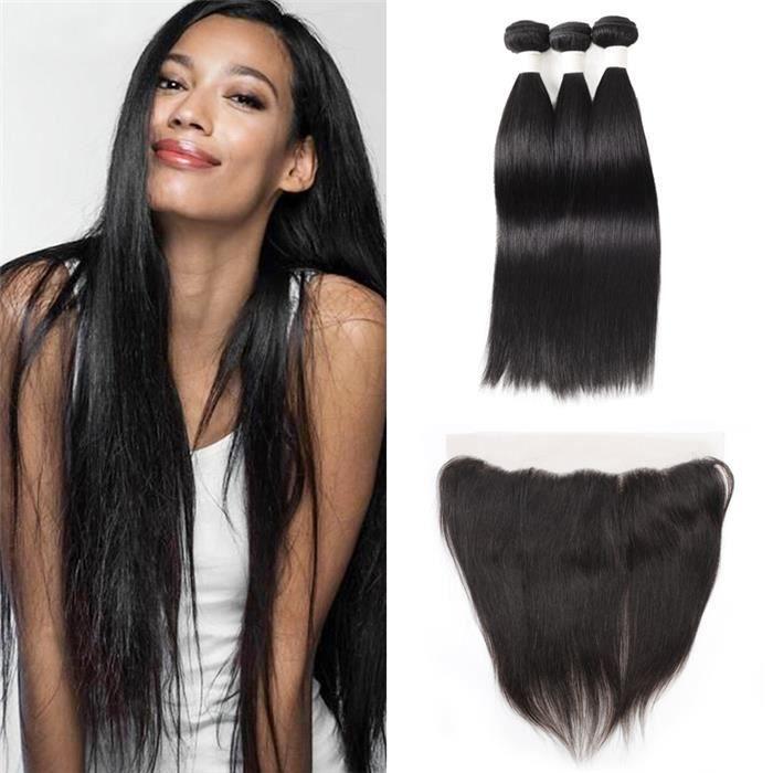 3 tissages brésiliens lisse hair 18 18 18+16 pouces avec closure 13x4 8 pouces cheveux humains