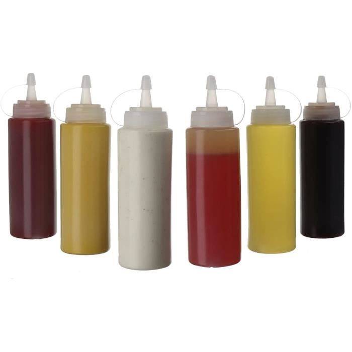 (6pk) Bouteilles En Plastique De 250 ml Avec Couvercle Vissable Contenants De Stockage Supérieurs Pour L'huile D'olive Sauce 619