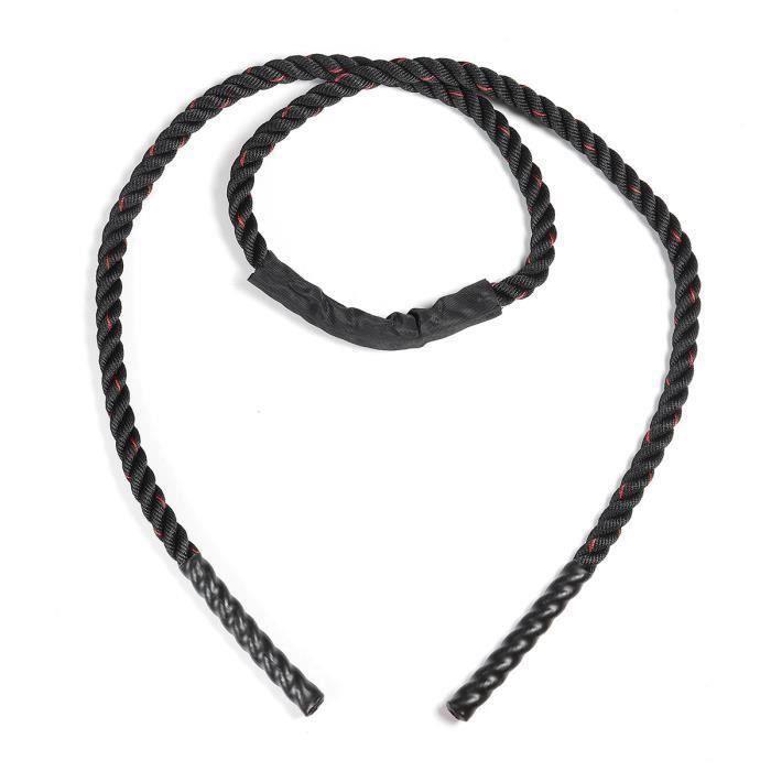1pcs Corde Battle Rope Combat Gym Noir et Rouge Ø25mm 2.8m Wir66