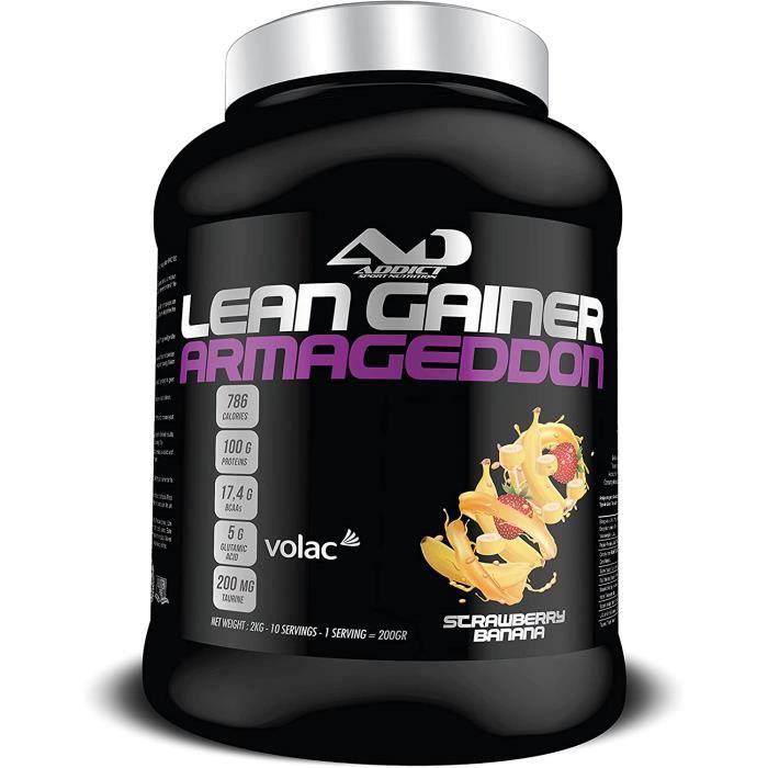 Protéine masse musculaire - Avoine instantanée - Prise de poids - Whey Protéine - Lean Gainer Armageddon - 2 Kg - Gout Strawber 117