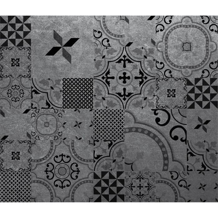 Crédence adhésive en alu imitation Métal - L. 20 x l. 20 cm - Noir