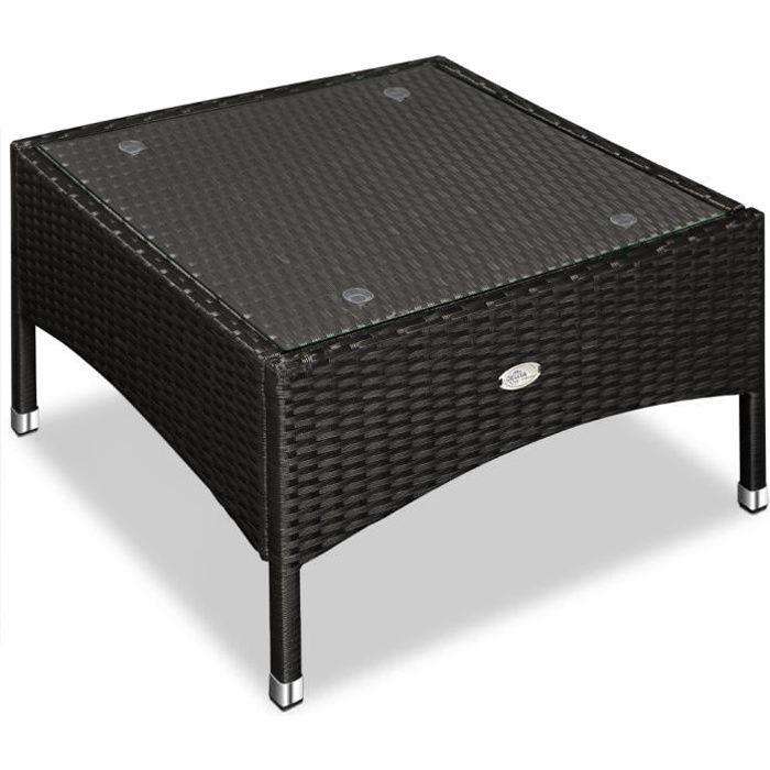 Table d'appoint / table basse en polyrotin - 58x58 x42cm - Noir - Maison/Jardin