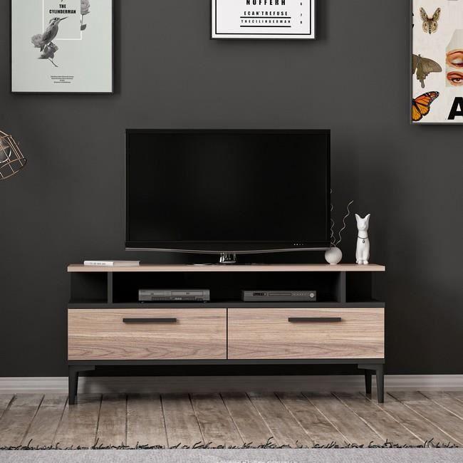 HOMEMANIA Meuble TV Sery Moderne - avec Portes, Étagères - pour Salon - Noir en Bois, 120 x 35 x 52 cm