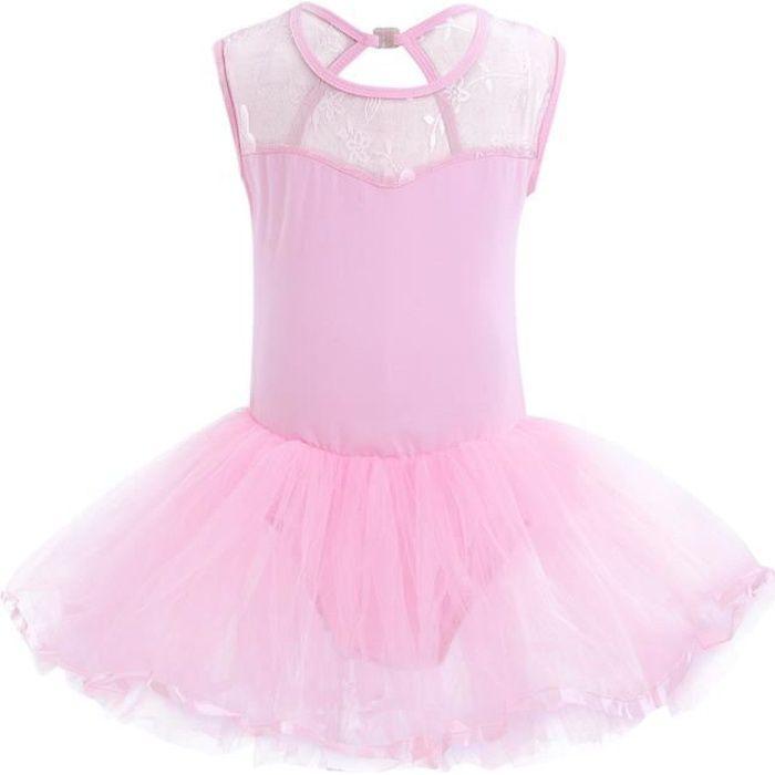 Tulle Tutu de Danse Classique Enfant Fille Ballet sans Manche Dancewear 3-14 Ans Rose