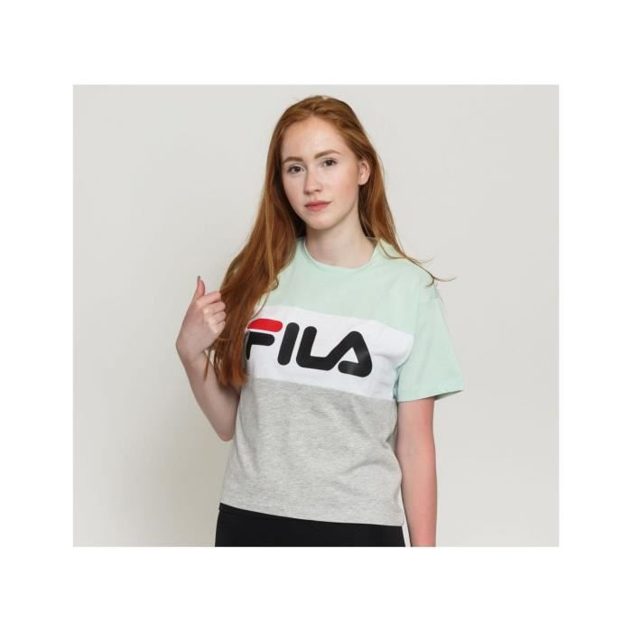 FILA T-Shirt Allison Vert d'eau/Gris/Blanc Femme