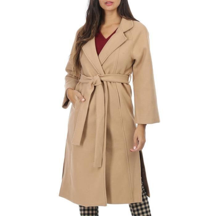 Manteau droit ceinturé camel