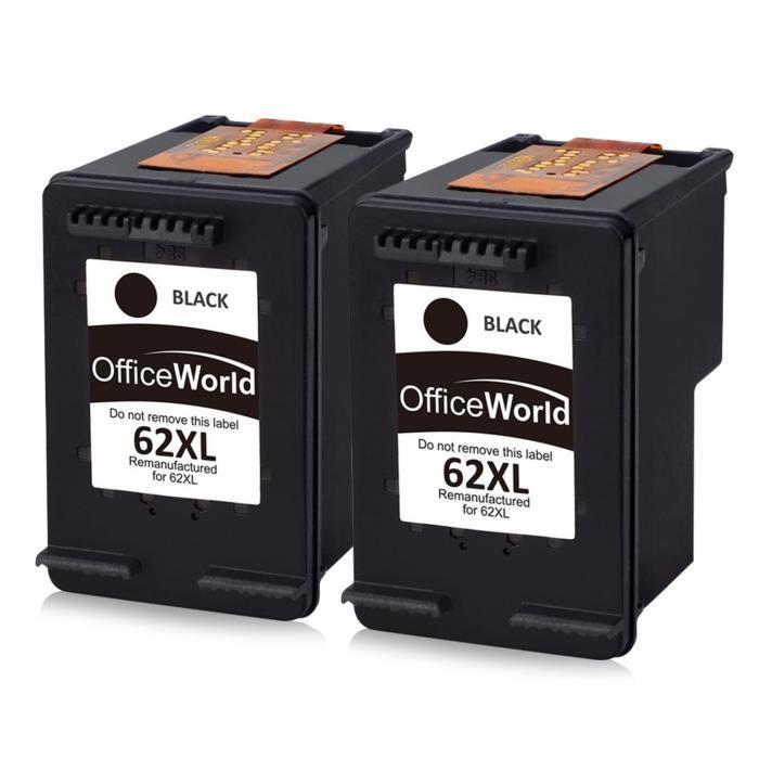 Pack 2 cartouches compatible HP 62 xl noire pour HP Envy 5540 5640 7640 5646 5546 HP Officejet 5740 5742 200