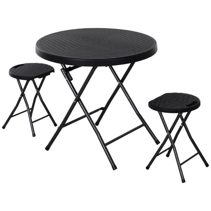 Ensemble de jardin pliable 2 pers. 3 pièces ensemble bistrot style contemporain 2 tabourets + table ronde Ø 80 cm métal HDPE