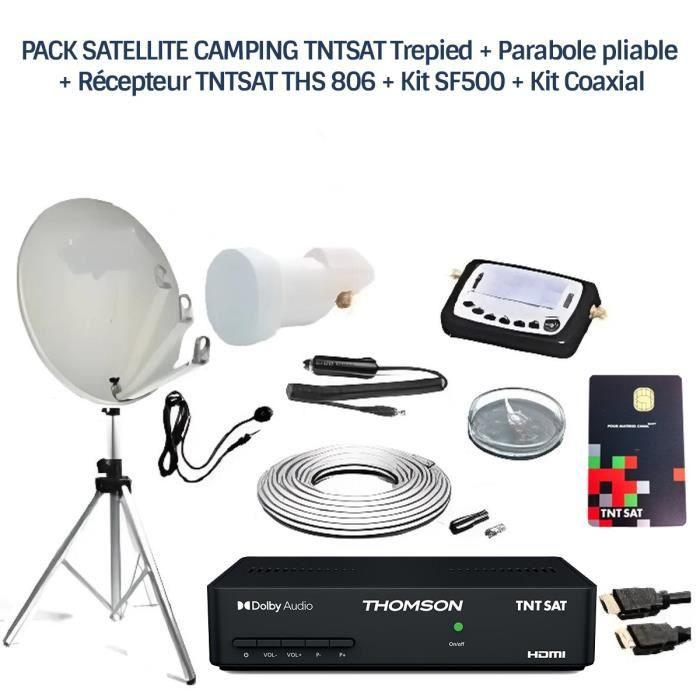 PACK SATELLITE CAMPING TNTSAT Trepied + Parabole pliable + Récepteur TNTSAT + Kit SF500 + Kit Coaxial