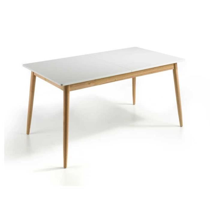Table de repas à allonge Blanc/Chêne - KAIKOURA n°2 - L 160/210 x l 80 x H 76