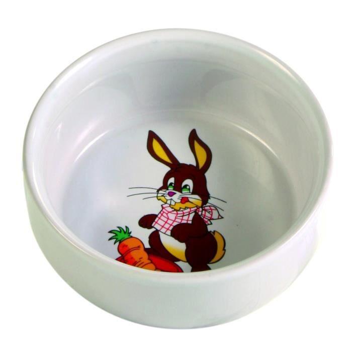 TRIXIE Ecuelle céramique avec motif lapin 250 ml/ø 11 cm pour rongeurs