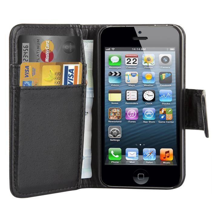 TRIXES Étui de protection portefeuille en cuir avec rabat pour iPhone 4 4S - noir