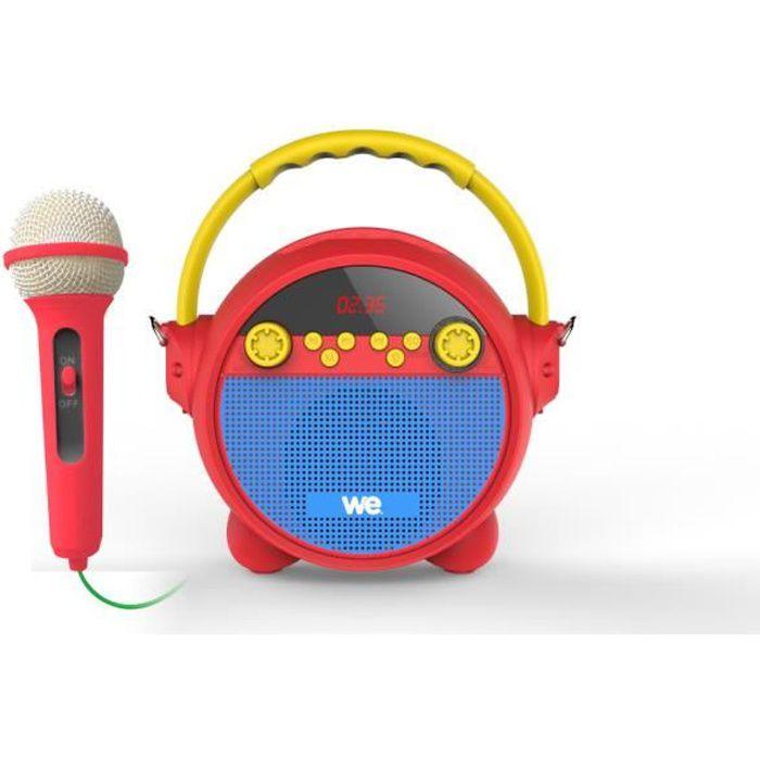 WE Radio réveil karaoké avec Micro RMS 5w, BT, Lecteur musical, USB, Micro SD, Radio FM, Batterie Rechargeable, bandoulière Incluse