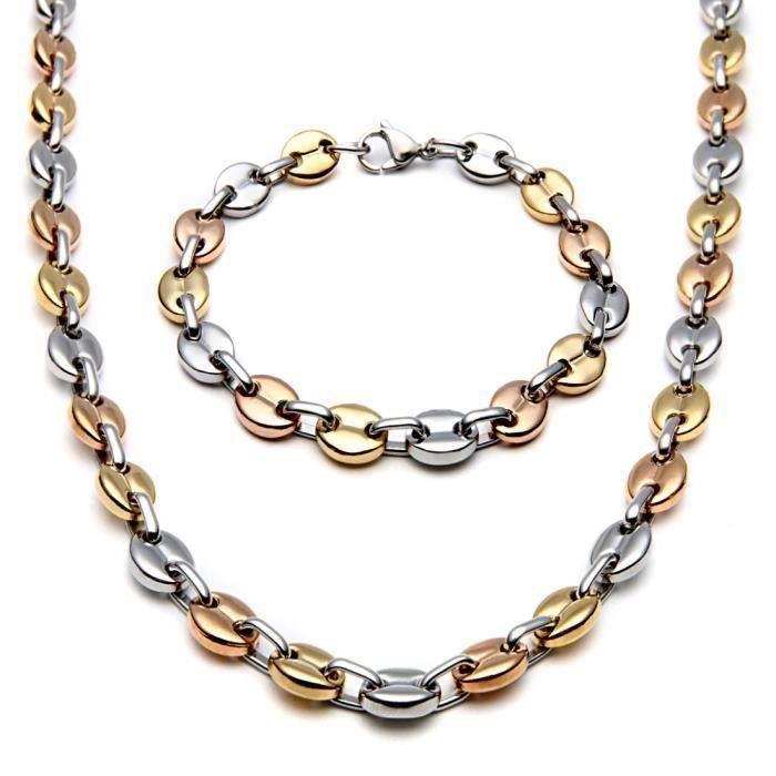 XY11988-Collier + bracelet grains de café Or acier