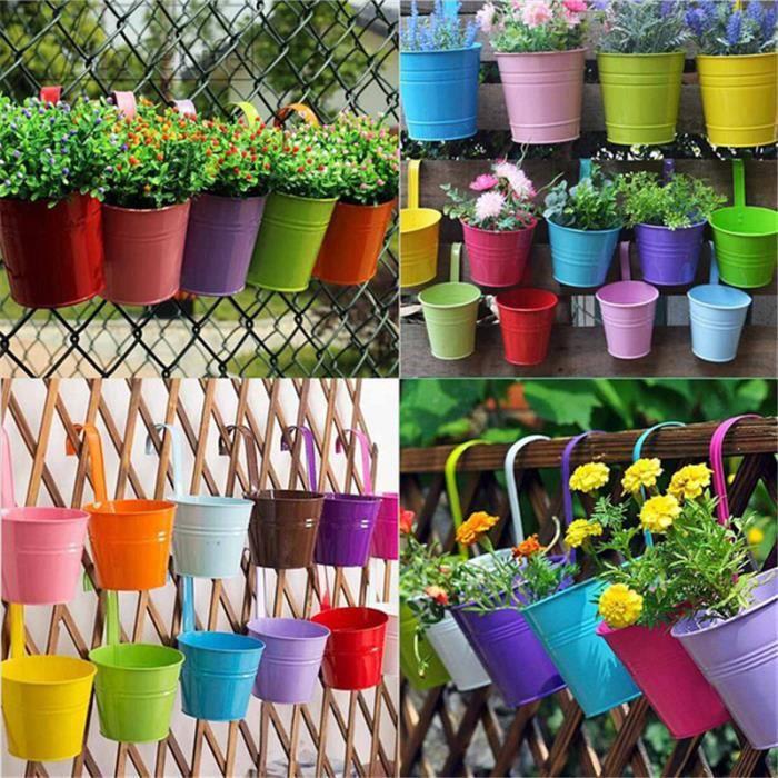Lot de 2 French Style Vintage Métal Plant Pots cœur fleur conteneurs Jardin S
