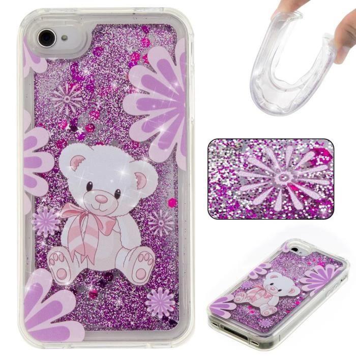 Coque iPhone 4-4S.Ours en peluche violet coeurs paillettes liquide ...