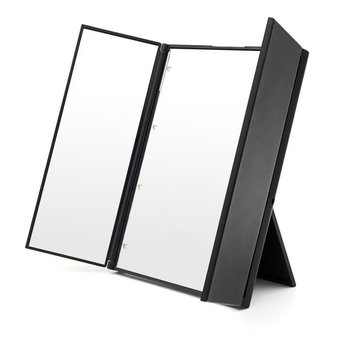 malloom triple pliant miroir portable led miroir de maquillage noir achat vente miroir. Black Bedroom Furniture Sets. Home Design Ideas