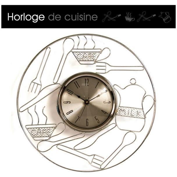 horloge couverts caf pour cuisine a quartz achat vente horloge verre cdiscount. Black Bedroom Furniture Sets. Home Design Ideas